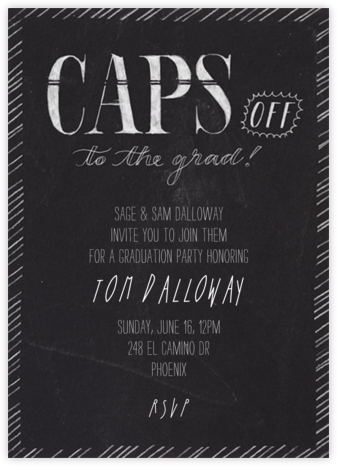 Caps Off - Crate & Barrel - Celebration invitations