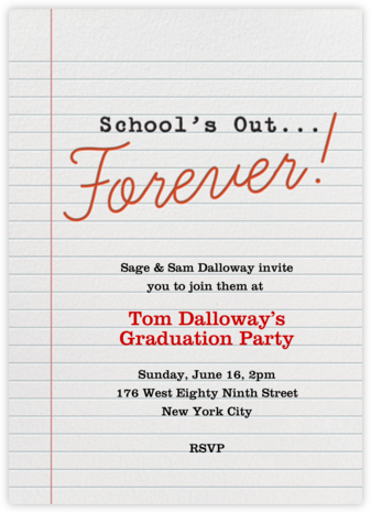 School's Out Forever - Crate & Barrel - Invitations