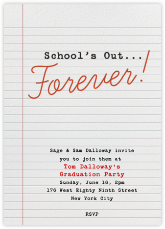 School's Out Forever - Crate & Barrel - Celebration invitations