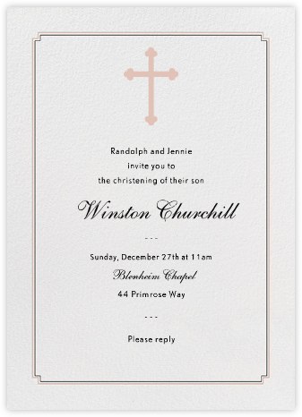 Indented Corners - Antique Pink and Black (Tall) - Paperless Post - Christening Invitations