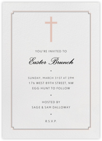 Indented Corners - Antique Pink and Black (Tall) - Paperless Post - Easter Invitations