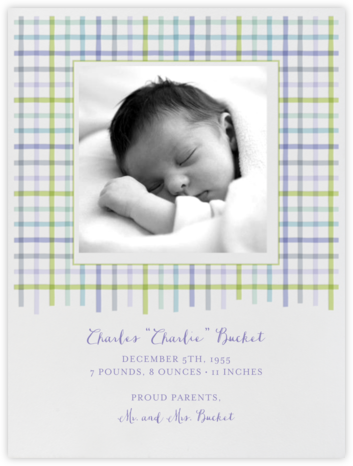 Tattersall - Blue Green - Paperless Post - Birth Announcements