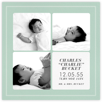 Window Pane - Mint - Paperless Post - Birth Announcements