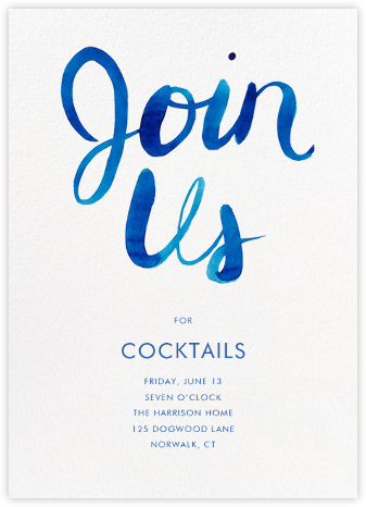 Join Us - Blue - Linda and Harriett - Happy Hour Invitations