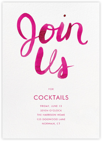 Join Us - Pink - Linda and Harriett - Happy Hour Invitations