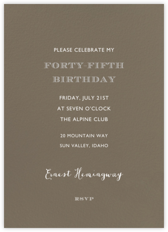Clay (Tall) - Paperless Post - Adult Birthday Invitations