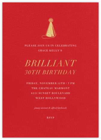 Red (Tall) - Paperless Post - Adult Birthday Invitations