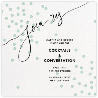 Join Us (Dots) - Mint/Black - Linda and Harriett - General Entertaining Invitations