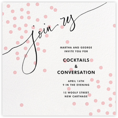 Join Us (Dots) - Pink/Black - Linda and Harriett - Cocktail party invitations