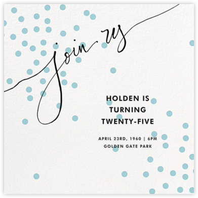 Join Us (Dots) - Blue/Black - Linda and Harriett - Adult Birthday Invitations
