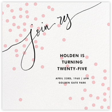 Join Us (Dots) - Pink/Black - Linda and Harriett - Adult Birthday Invitations