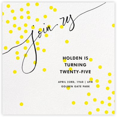 Join Us (Dots) - Yellow/Black - Linda and Harriett - Adult Birthday Invitations