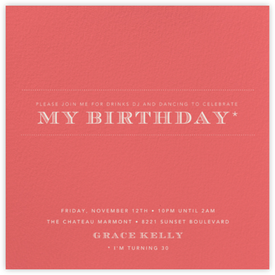 Coral (Square) - Paperless Post - Adult Birthday Invitations