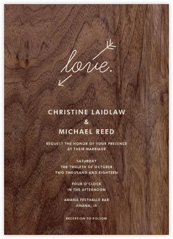 Wood Love Arrow - Paper + Cup - Wedding Invitations