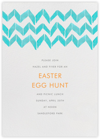 Big Zig Zag - Aqua - Linda and Harriett - Easter invitations
