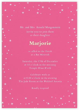 Andromeda - Pink - Paperless Post - Bar and Bat Mitzvah Invitations