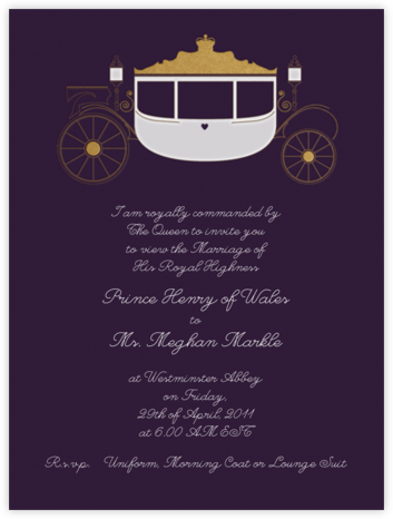 Carriage - Plum - Paperless Post - Wedding Invitations