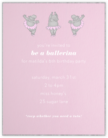 Ballet Hippo - Paperless Post - Kids' Birthday Invitations