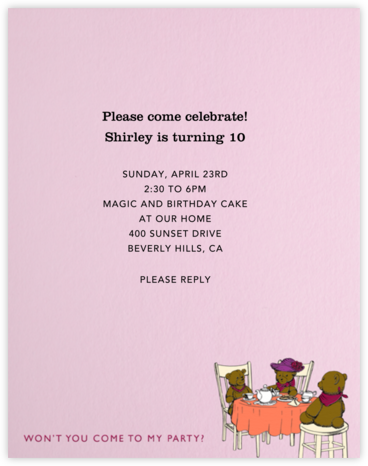 Tea Party (Pink) - Paperless Post - Kids' Birthday Invitations