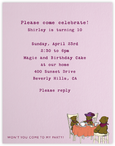 Tea Party (Pink) - Paperless Post - Birthday invitations