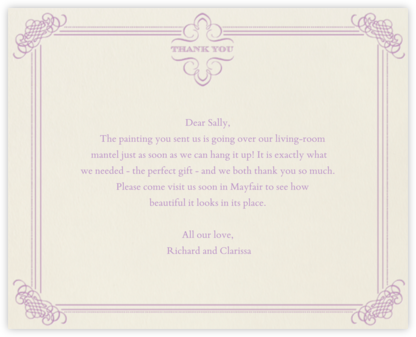 Antique Press- Cream with Lilac (Horizontal) - Paperless Post -
