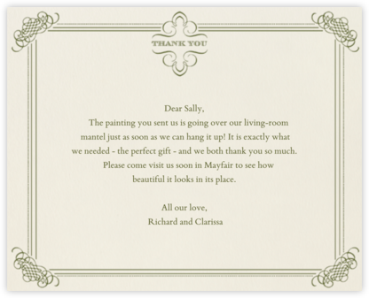 Antique Press- Cream with Olive (Horizontal) - Paperless Post - Wedding thank you notes