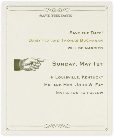 Antique Press (Save The Date) - Olive/Cream - Paperless Post -
