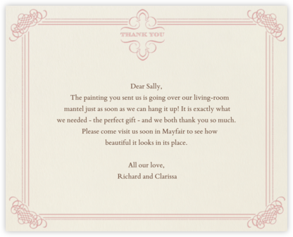 Antique Press- Cream with Tea Rose (Horizontal) - Paperless Post - Online thank you notes