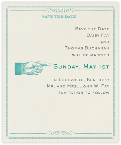 Antique Press (Save The Date) - Teal/Cream - Paperless Post -