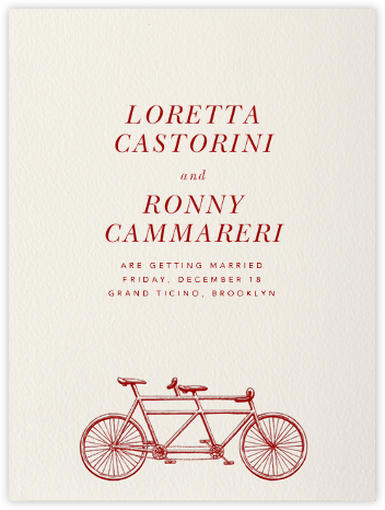 Bicycle Built for Two - Crimson - Paperless Post - Save the dates