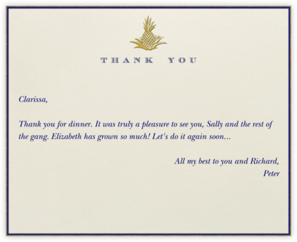 Pineapple Thank You (Blue) - Paperless Post - General thank you notes