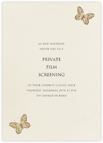 Butterfly - Gold - Bernard Maisner - General Entertaining Invitations