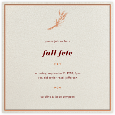 Cream Interior Border (Pumpkin) - Paperless Post - Autumn entertaining invitations