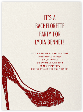 Croc Pump (Red) - Paperless Post - Bachelorette party invitations