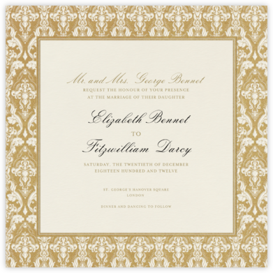 Damask (Border) - Cream/Millet - Paperless Post - Wedding Invitations