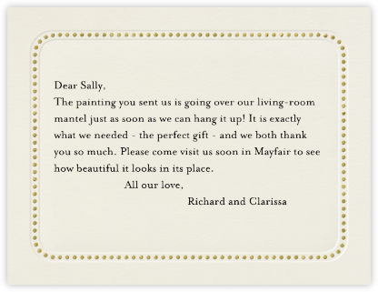 Dotted Bevel - Cream Gold (Horizontal) - Paperless Post - Wedding thank you notes