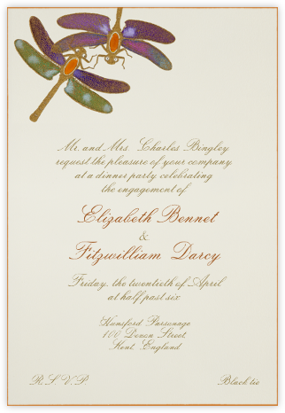 Dragonflies - Orange Purple - Bernard Maisner - Summer entertaining invitations