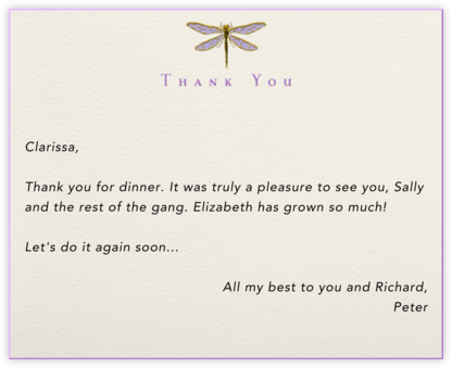 Dragonfly Thank You - Paperless Post - General thank you notes