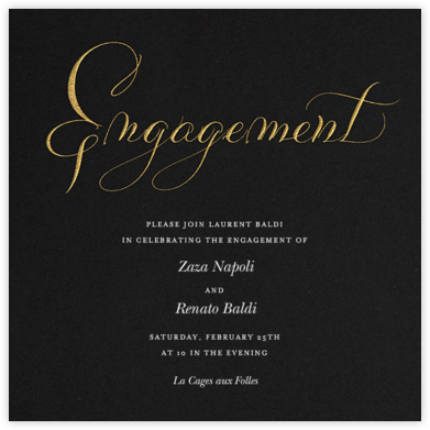 Engagement - Black - Bernard Maisner - Engagement party invitations
