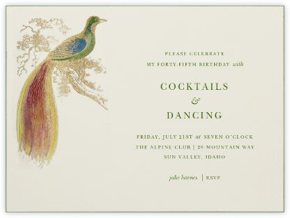 Hand Painted Bird of Paradise - Green - Bernard Maisner - Bernard Maisner Invitations