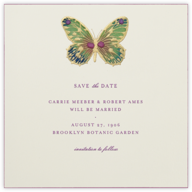 Hand Painted Butterfly - Green Pink - Bernard Maisner - Save the dates