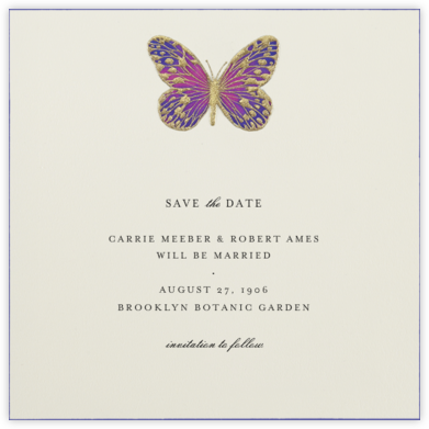Hand Painted Butterfly - Pink Purple - Bernard Maisner - Before the invitation cards