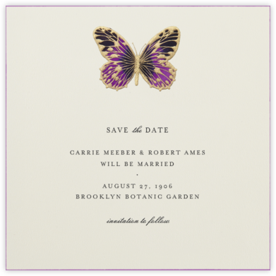Hand Painted Butterfly - Purple - Bernard Maisner - Save the dates