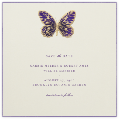 Hand Painted Butterfly - Second Purple - Bernard Maisner - Save the dates