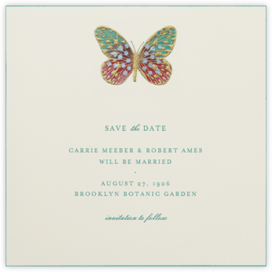 Hand Painted Butterfly - Red Teal - Bernard Maisner - Save the dates