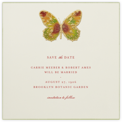 Hand Painted Butterfly - Red Yellow Green - Bernard Maisner - Save the dates