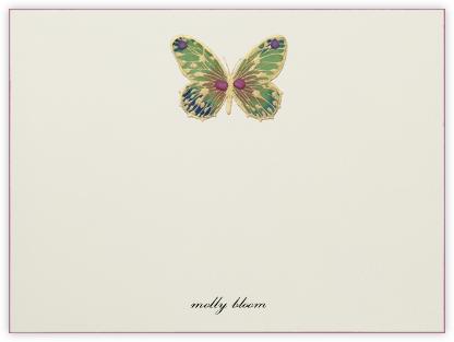 Hand Painted Butterfly (Stationery) - Green Pink - Bernard Maisner