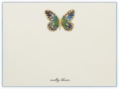 Hand Painted Butterfly (Stationery) - Green Purple - Bernard Maisner - Personalized stationery
