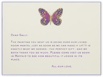 Hand Painted Butterfly - Pink Purple - Bernard Maisner - Wedding thank you notes