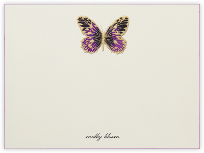 Hand Painted Butterfly (Stationery) - Purple - Bernard Maisner - Personalized Stationery